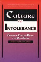 Culture of Intolerance: Chauvinism, Class, and Racism in the United States