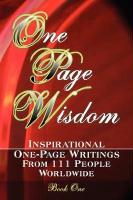 One Page Wisdom. Book One - Directories, New Age