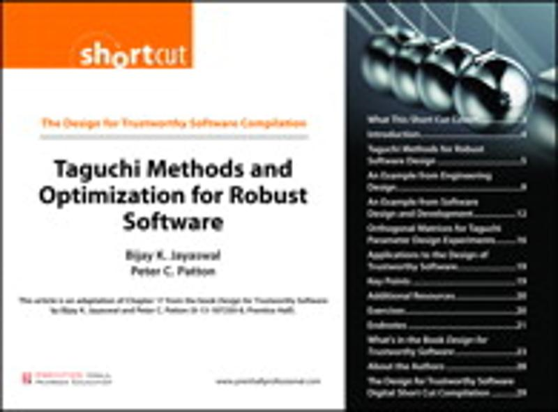 Taguchi Methods and Optimization for Robust Software (Digital Short Cut) - Pearson Technical
