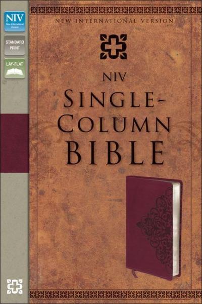 NIV Single-Column Bible (NIV, Cranberry Italian Duo-Tone) - Zondervan Publishing