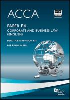 Acca - F4 Corp and Business Law (Eng): Revision Kit