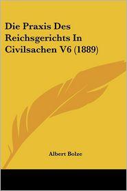 Die Praxis Des Reichsgerichts in Civilsachen V6 (1889) - Albert Bolze (Editor)