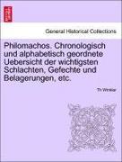 Winkler, Th: Philomachos. Chronologisch und alphabetisch geordnete Uebersicht der wichtigsten Schlachten, Gefechte und Belagerungen, etc.