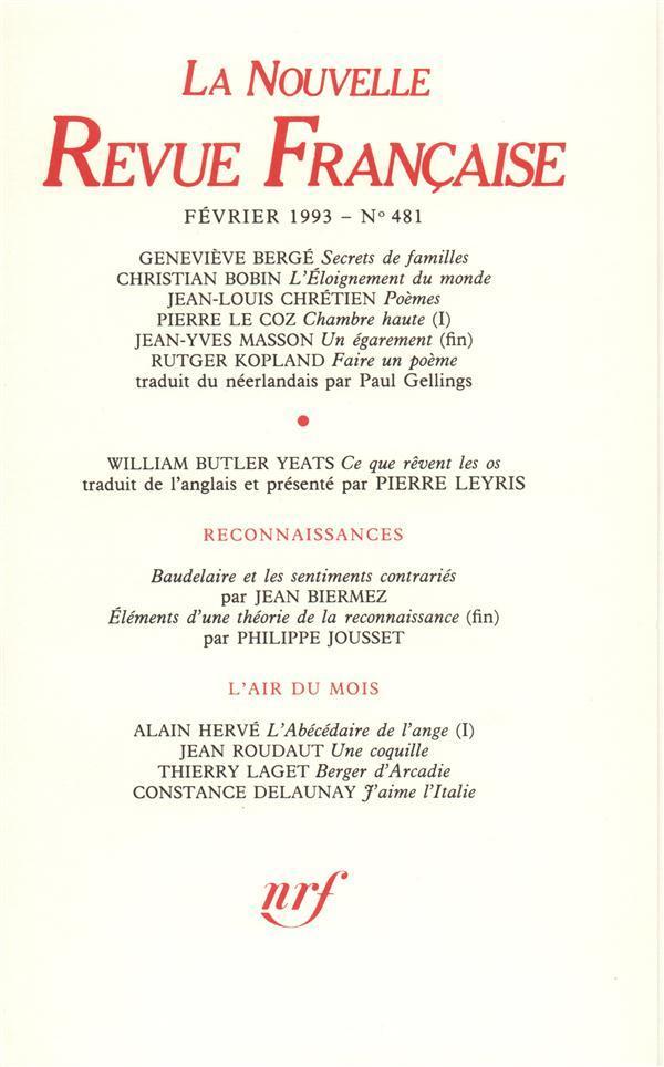Février 1993 - La Nouvelle Revue Francaise